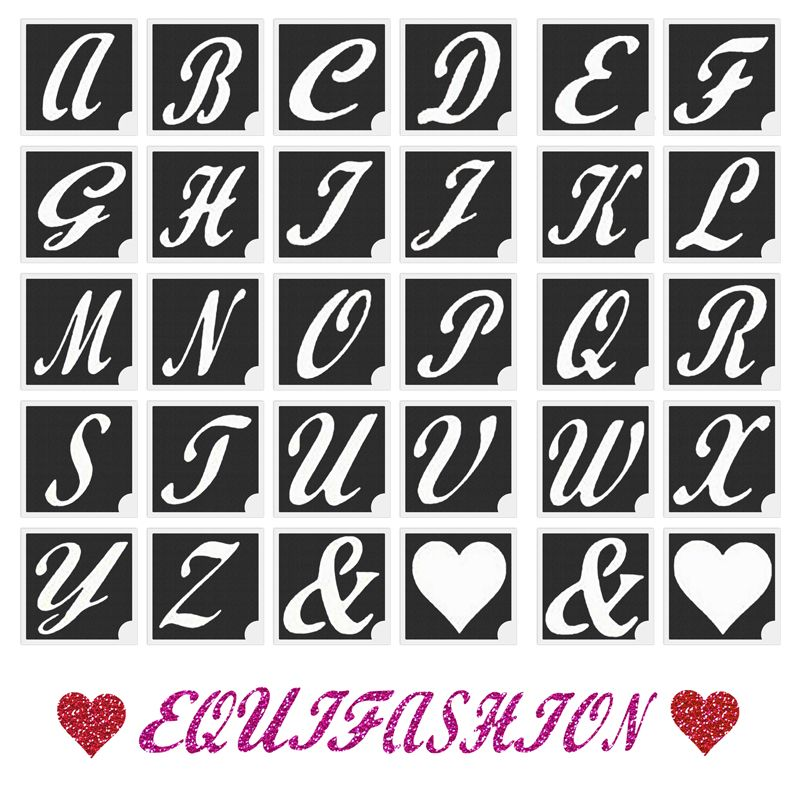 A z alphabet hearts glitter tattoo stencils thecheapjerseys Image collections